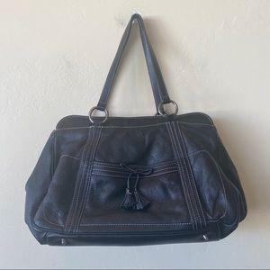 Anya Hindmarch London Black Leather Shoulder Bag